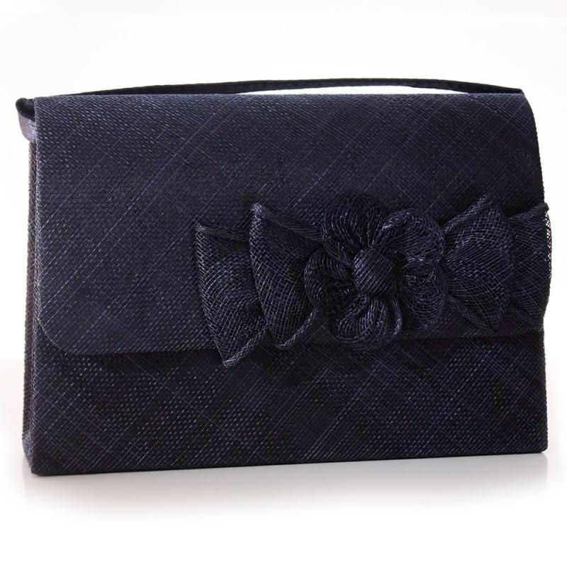 sac pochette mariage noeud fleur bouton sinamay ivoire. Black Bedroom Furniture Sets. Home Design Ideas
