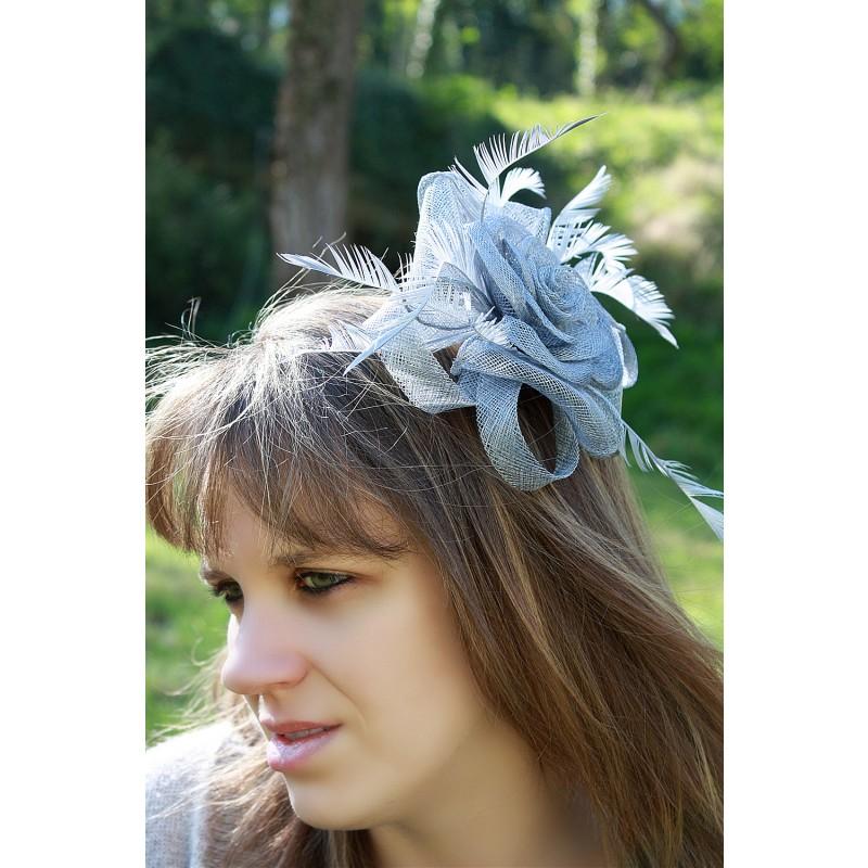 chapeau fleur rose bibi peigne mariage plumes gris ivoire noir bleu bordeaux rose. Black Bedroom Furniture Sets. Home Design Ideas