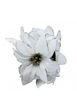 Pince Cheveux Crabe Mariage Double Fleur Scintillant Argenté (Noir, Blanc)