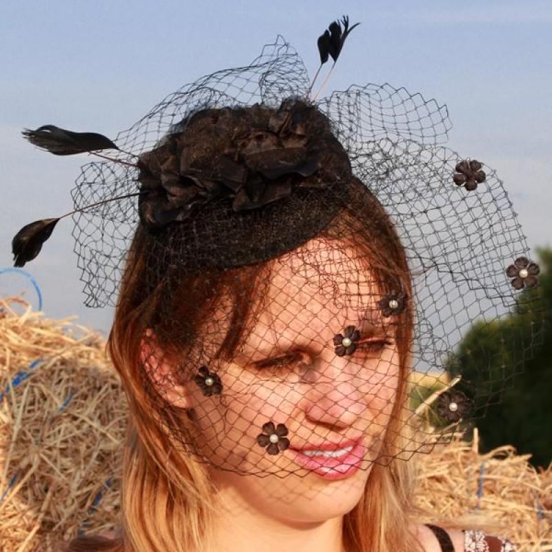 serre tte chapeau bibi mariage voilette perles fleur plumes noir - Bibi Mariage Voilette