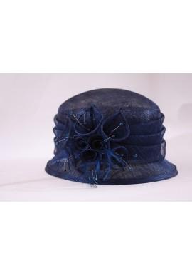 Chapeau Mariage Noeud Fleur Perle Brillant Plume Bleu Marine