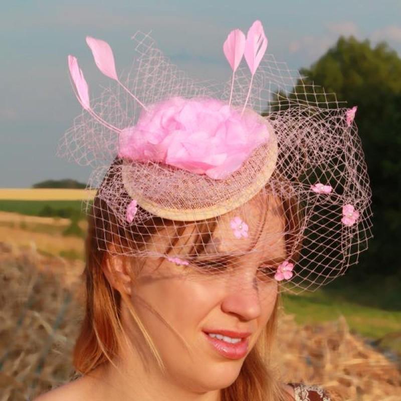 serre tte chapeau bibi mariage voilette perles fleur plumes rose pal - Bibi Mariage Voilette