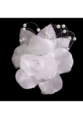 Pince Mariage Fleur Tissu Scintillant Perles Blanc Argenté