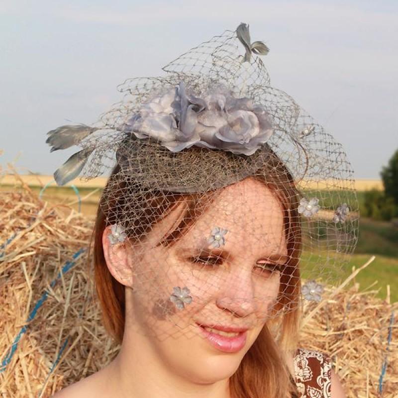 serre tte chapeau bibi mariage voilette perles fleur plumes gris - Bibi Mariage Voilette