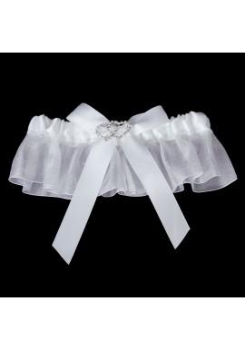 Jarretiere Mariage Dentelle Double Coeur Strass Noeud Blanc