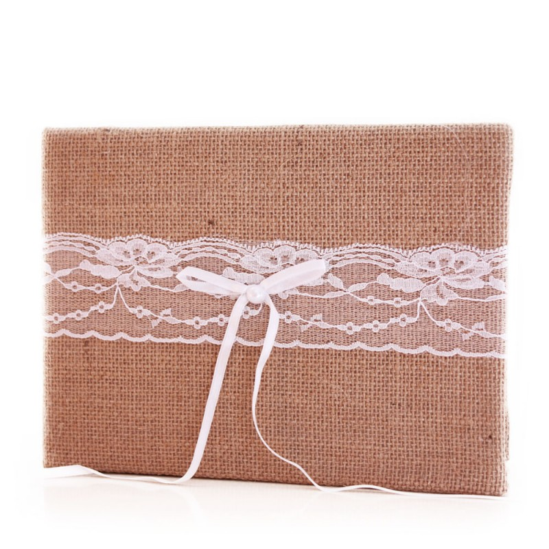 livre d 39 or mariage mod le champetre jute dentelle. Black Bedroom Furniture Sets. Home Design Ideas