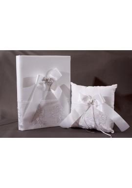 Ensemble Livre d'Or Coussin Mariage Blanc Dentelle Floral Coeur