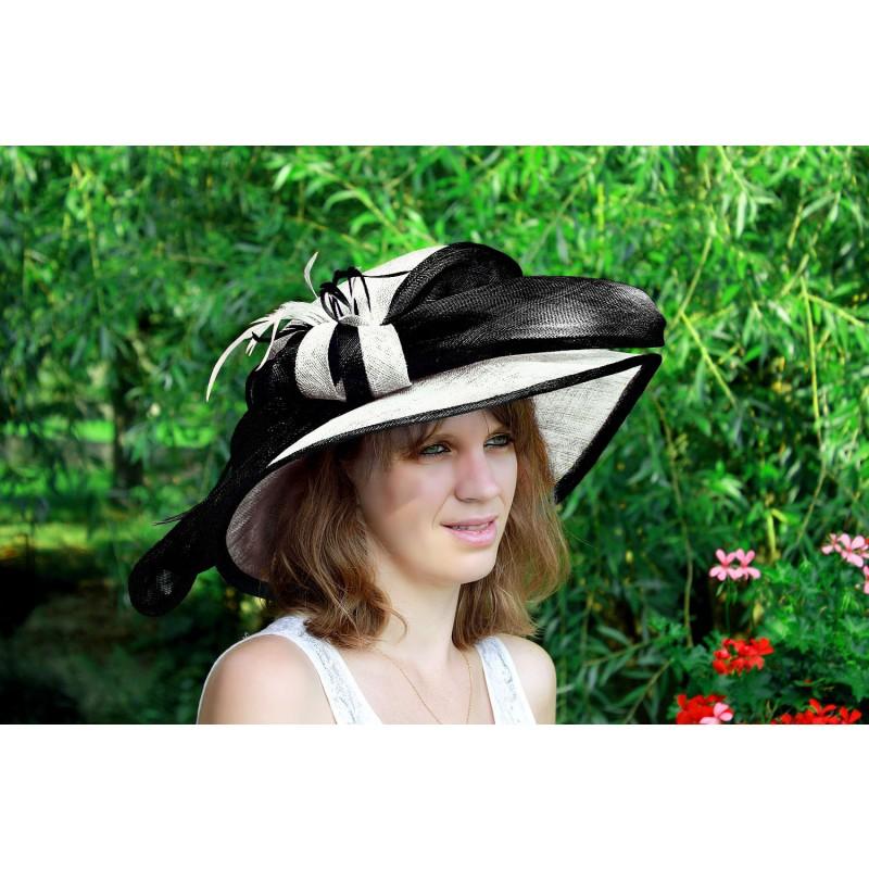 chapeau capeline mariage ceremonie plume sinamay bleu marron orange ivoire rose rouge. Black Bedroom Furniture Sets. Home Design Ideas