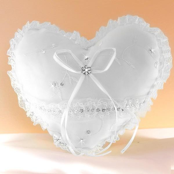 Coussin mariage porte alliances coeur strass ivoire blanc - Porte alliances mariage ...