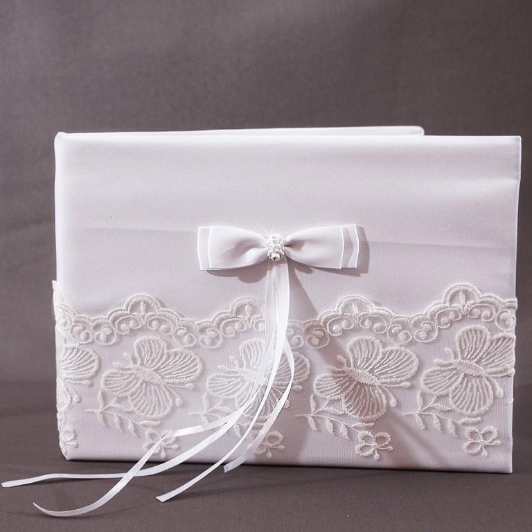Livre d 39 or mariage blanc noeud broderie papillon - Mot livre d or mariage ...