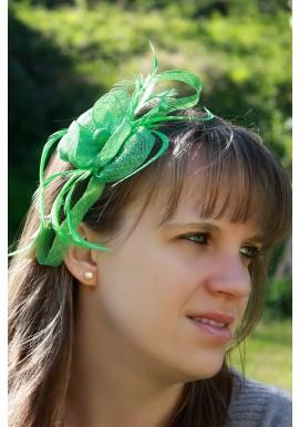 Serre Tête Bibi Mariage Fleur Trèfles Bouton vert