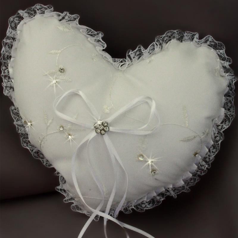 coussin coeur mariage porte alliances blanc dentelle borderie strass. Black Bedroom Furniture Sets. Home Design Ideas