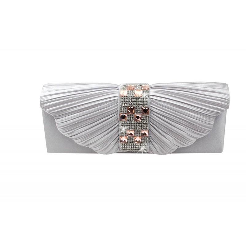 pochette mariage satin papillon bande strass argent - Pochette Argente Mariage