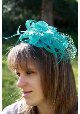 Serre Tête Bibi Mariage Fleur Pois Plumes Filet Bleu Turquoise