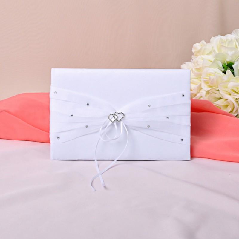 livre d 39 or mariage blanc coeur strass ruban. Black Bedroom Furniture Sets. Home Design Ideas