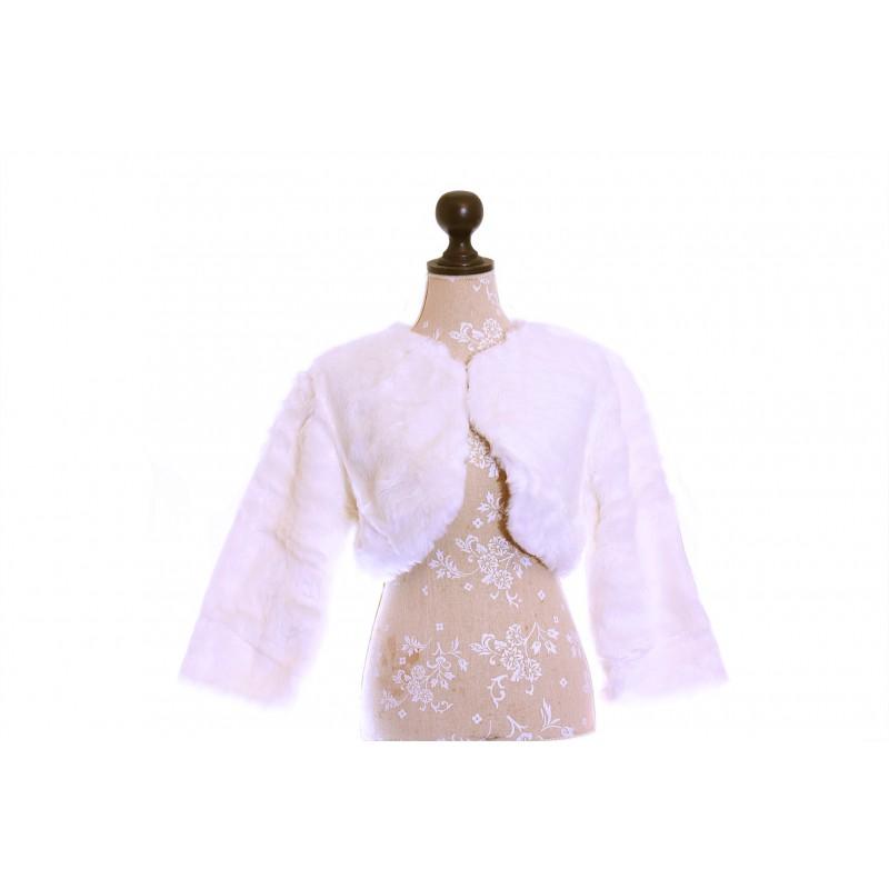 Etole bol ro veste mariage manches 3 4 fourrure blanc for Veste de mariage