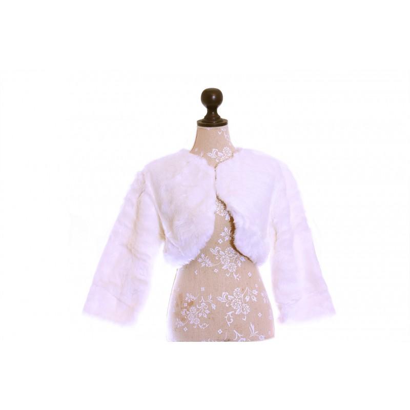 Etole bol ro veste mariage manches 3 4 fourrure blanc for Petite veste de mariage