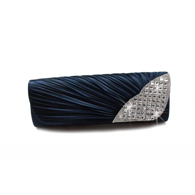 pochette c r monie mariage soir e satin pliss strass. Black Bedroom Furniture Sets. Home Design Ideas