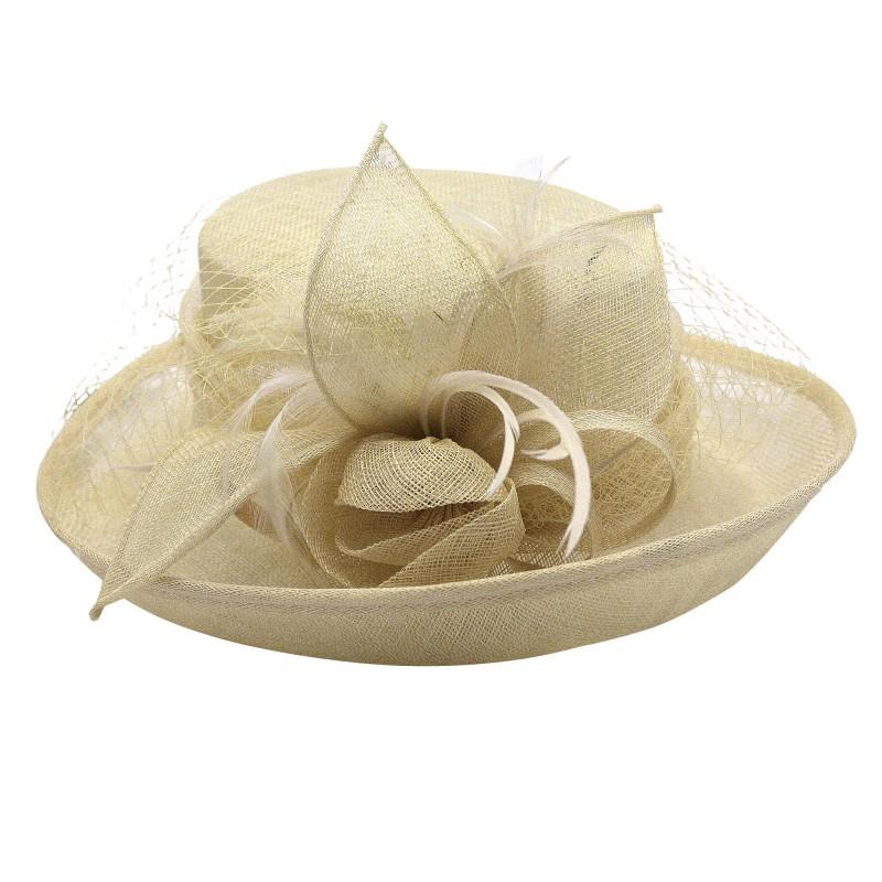 Chapeau Fleur Bouton Voilette Plume Mariage Marron Light