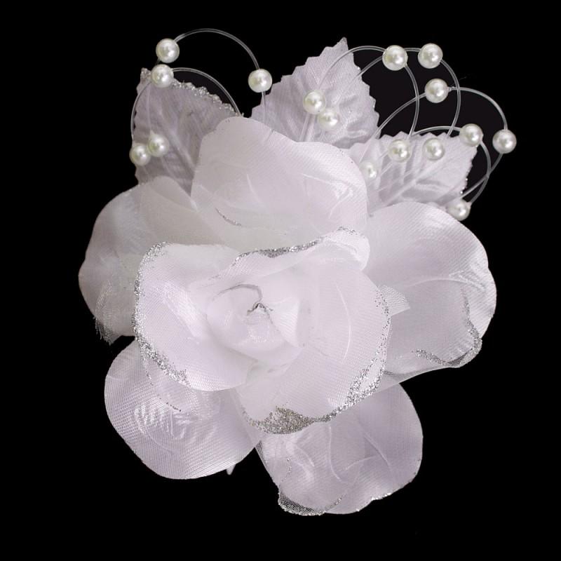 pince mariage fleur tissu scintillant perles blanc argent. Black Bedroom Furniture Sets. Home Design Ideas