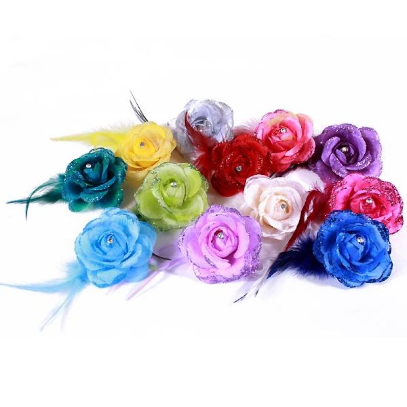 pince broche mariage fleur tissu scintillant strass bleu rose vert beige rouge violet. Black Bedroom Furniture Sets. Home Design Ideas