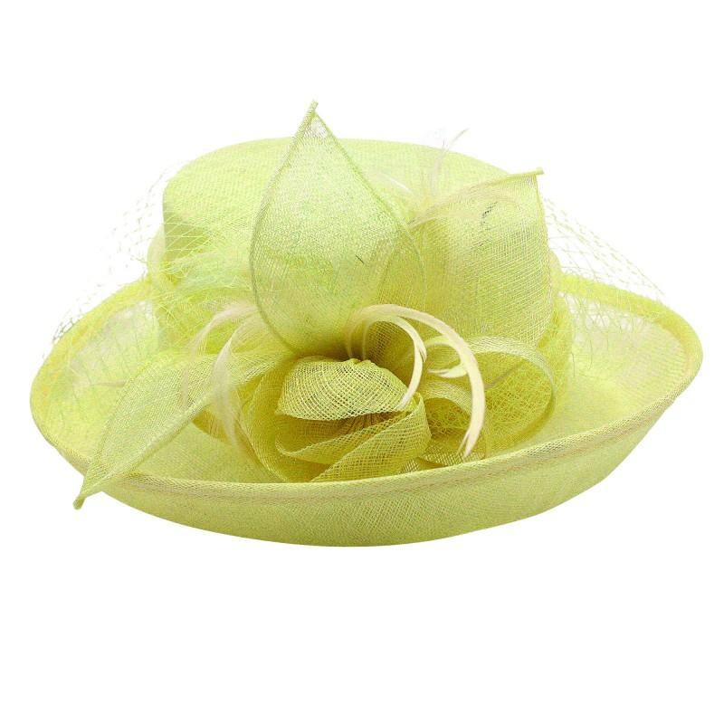 Chapeau Fleur Bouton Voilette Plume Mariage Jaune Vert
