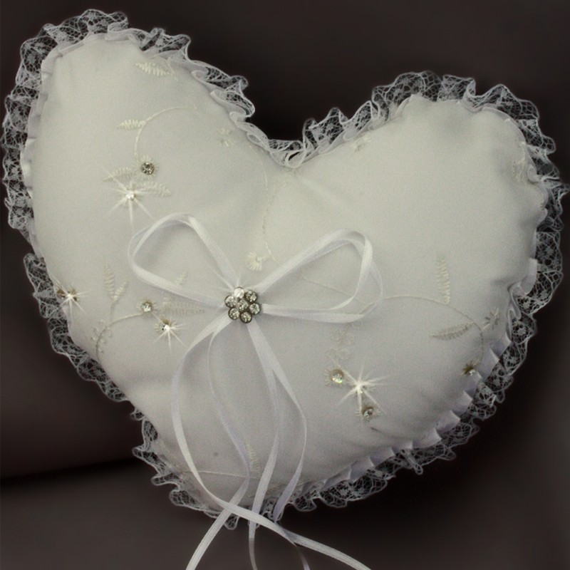 Coussin coeur mariage porte alliances blanc dentelle borderie strass - Porte alliances mariage ...