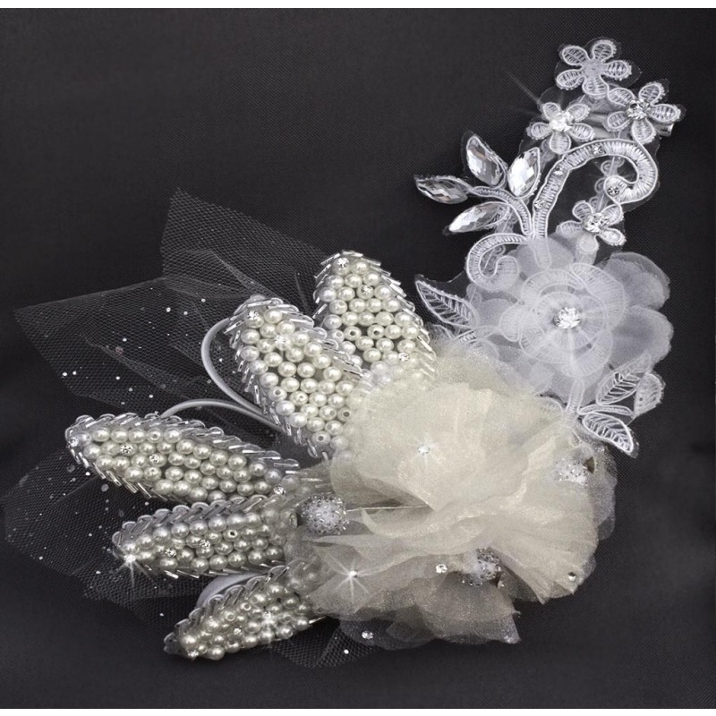 pince fleur mariage boule strass perles blanc argent. Black Bedroom Furniture Sets. Home Design Ideas