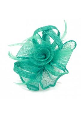 Pince Broche Mariage Fleur Plumes Panier Noeuds Bleu Turquoise