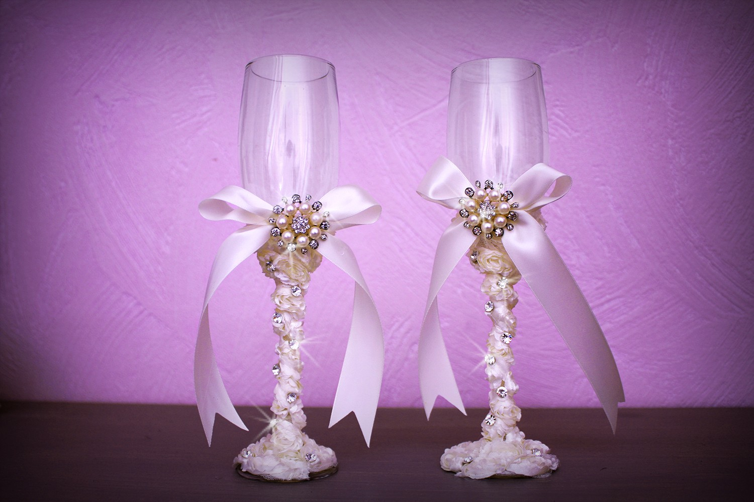 Flute coupe champagne mariage strass ruban perle ivoire - Coupe de mariage ...
