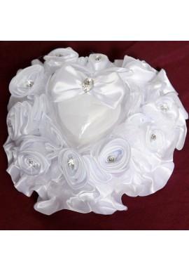 Coussin Porte Alliances Couvercle Coeur Noeud Blanc