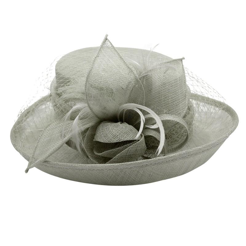Chapeau Fleur Bouton Voilette Plume Mariage Gris