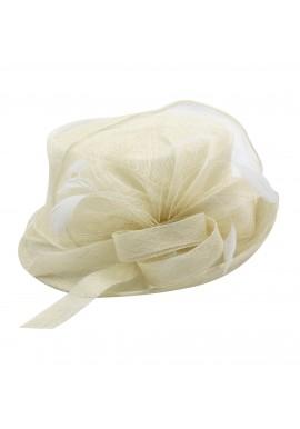 Chapeau Mariage Noeud Fleur Julia Plume Ivoire