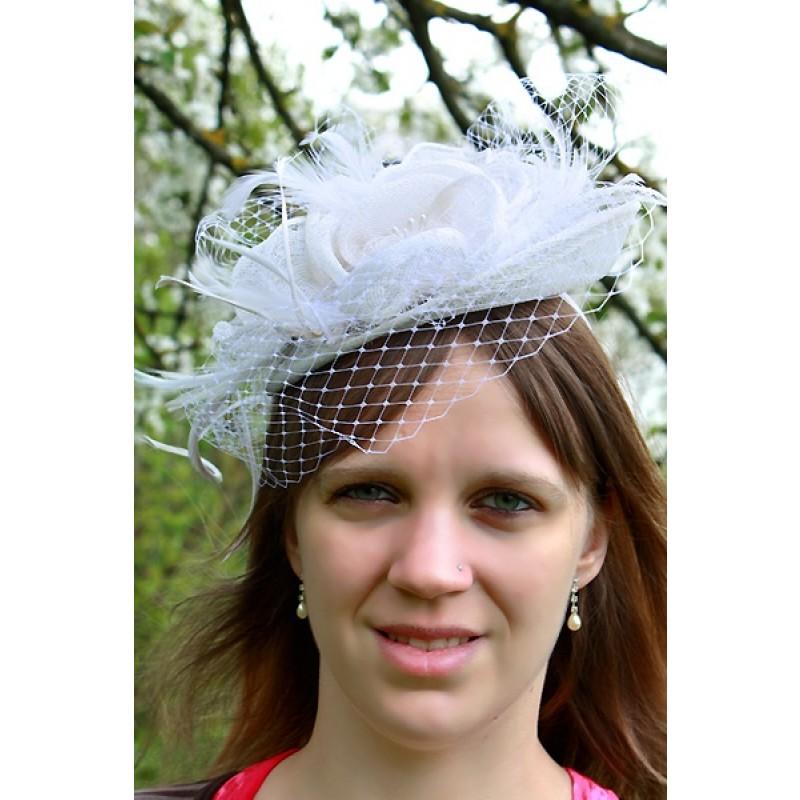 chapeau ceremonie bibi mariage fleur filet plumes marron ivoire. Black Bedroom Furniture Sets. Home Design Ideas