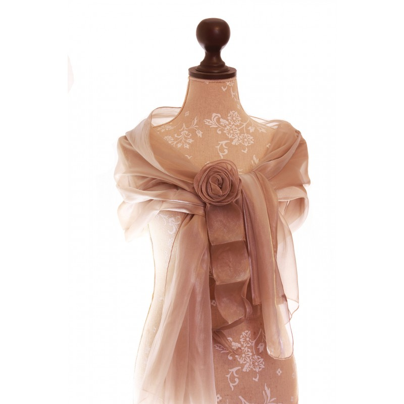 etole mariage soire organza fleur beige - Etole Beige Mariage
