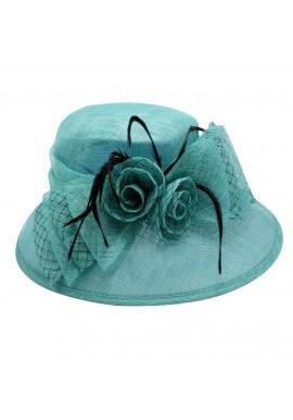 Chapeau Mariage Sisal Double Noeud Fleur Plume (Gris, Ivoire, Bleu, Rose, Noir)