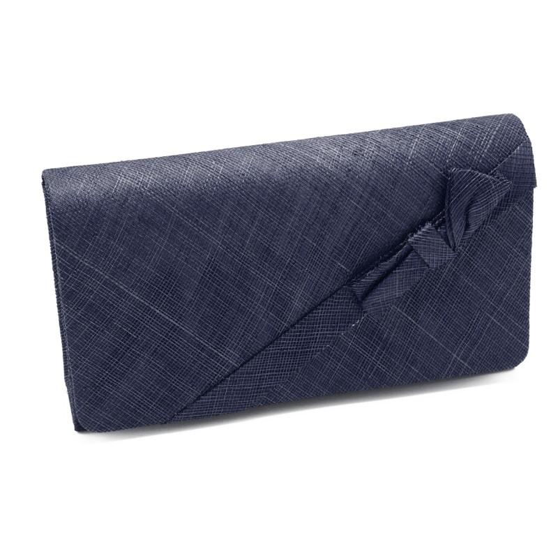 sac pochette mariage ruban noeud sinamay ivoire bleu. Black Bedroom Furniture Sets. Home Design Ideas