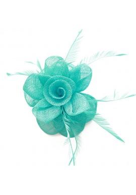 Pince Broche Mariage Fleur Pensé Plumes Bleu Turquoise