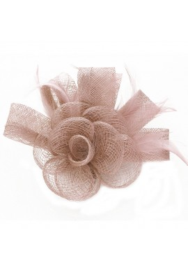 Pince Broche Grande Fleur Plumes Sinamay Mariage Violet Parme