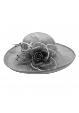 Chapeau Capeline Mariage Voilette Fleur Plume (Marron, Gris, Rose)