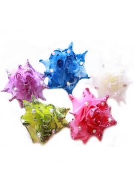 Pince Mariage Fleur Tissu Strass Scintillant (Rose, Bleu, Violet, Blanc, Vert)