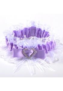 Jarretiere Mariage Dentelle Noeud Coeur Strass Ruban Violet