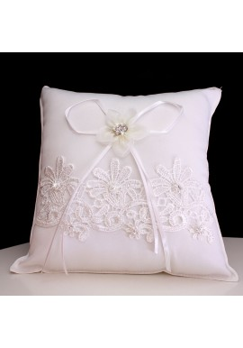 Coussin Mariage Porte Alliances Noeud Ruban Ivoire Strass Perle Borderie