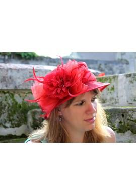 Chapeau Mariage Noeud Fleur Et Tulle Rouge